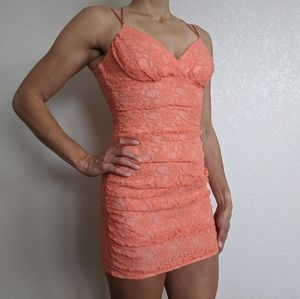 Teeze Me Peach Cocktail Dress (Size 5)